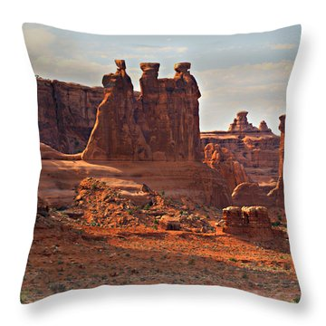 The Three Gossips Throw Pillow by Marty Koch