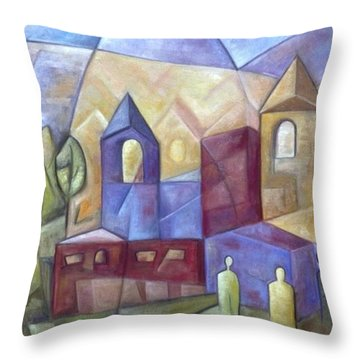 The Three Visitors Throw Pillow