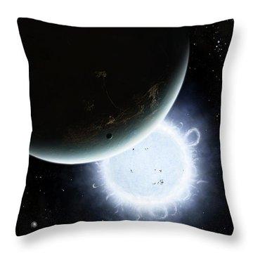 The Tiny Moon Rakka Ume Travels Throw Pillow by Brian Christensen