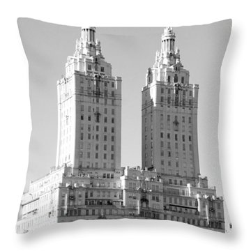 The Towers In Black And White Throw Pillow by Rob Hans