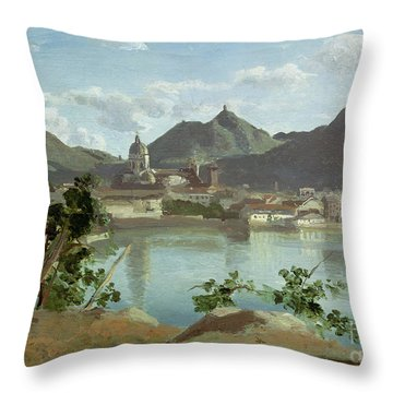 The Town And Lake Como Throw Pillow by Jean Baptiste Camille Corot