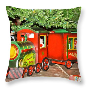 The Toy Train Throw Pillow by Ann Murphy
