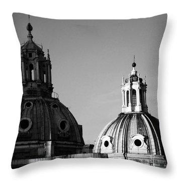 The Twin Domes Of S. Maria Di Loreto And Ss. Nome Di Maria Throw Pillow by Fabrizio Troiani