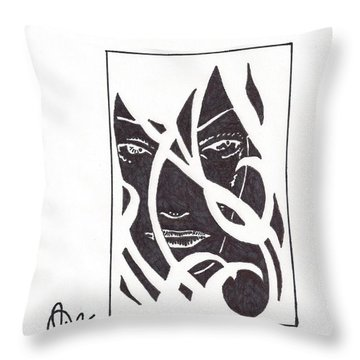 Throw Pillow featuring the drawing The Unkown Woman by Jeremiah Colley