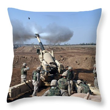 The U.s. Marine Corps M-198 155mm Throw Pillow by Stocktrek Images