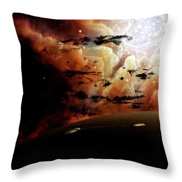 The View From A Busy Planetary System Throw Pillow by Brian Christensen
