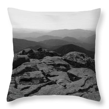 The View North From Mt. Marcy Black And White Three Throw Pillow