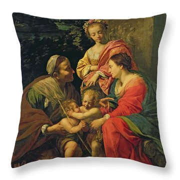The Virgin And Child With Saints Throw Pillow by Simon Vouet