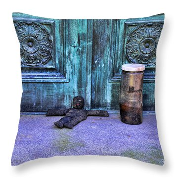 The Voodoo Doll Throw Pillow by Paul Ward