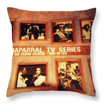 The Wall Of Fame In Old Tuscon Az Throw Pillow by Susanne Van Hulst