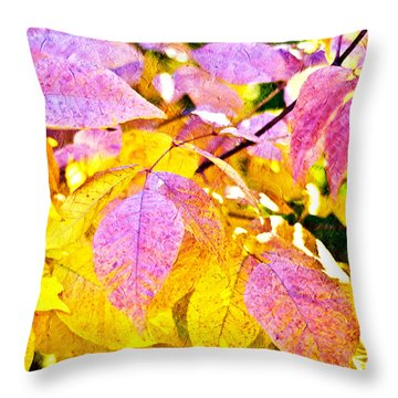 The Warm Glow In Autumn Abstract Throw Pillow by Andee Design