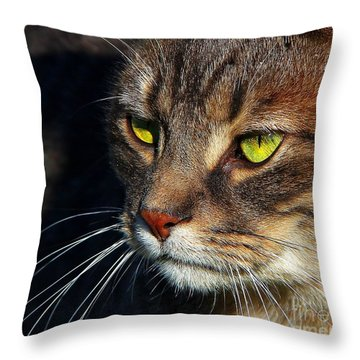 Throw Pillow featuring the photograph The Watcher by Davandra Cribbie