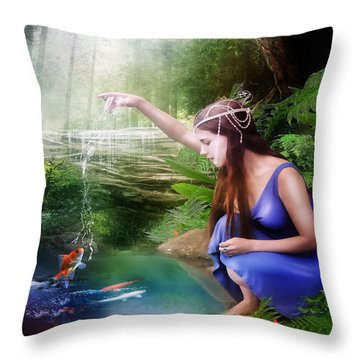The Water Hole Throw Pillow by Mary Hood