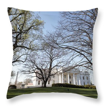 The White House And Lawns Throw Pillow