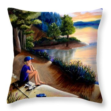 The Wish To Fish Throw Pillow by Renate Nadi Wesley