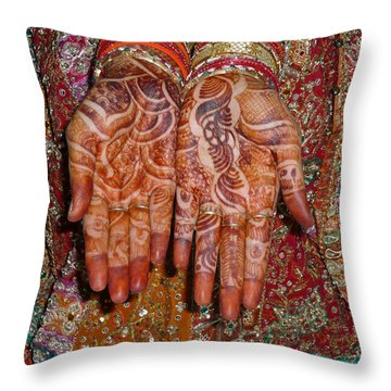 The Wonderfully Decorated Hands And Clothes Of An Indian Bride Throw Pillow by Ashish Agarwal