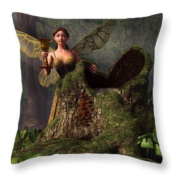 The Wood Sprite Throw Pillow by Daniel Eskridge
