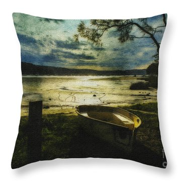 The Yellow Boat Throw Pillow by Avalon Fine Art Photography