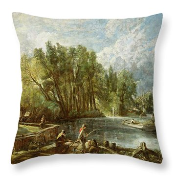 The Young Waltonians - Stratford Mill Throw Pillow by John Constable