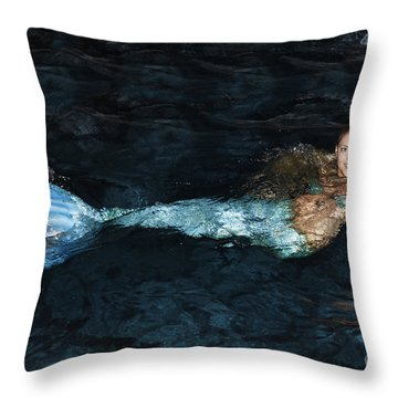 There Is A Mermaid In The Pool Throw Pillow