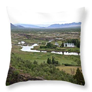 Thingvellir Valley Throw Pillow by Greg Dimijian