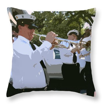 Third Line Brass Band Throw Pillow by Renee Barnes