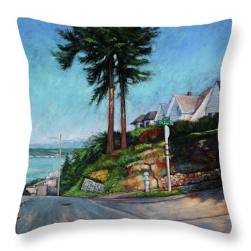 Throw Pillow featuring the painting Thirtieth And Cedar  by Charles Munn