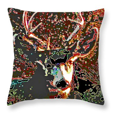 Throw Pillow featuring the photograph This Buck Stopped Here by Joan Hartenstein