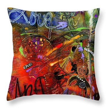 This Doll Loves Art Throw Pillow by Angela L Walker