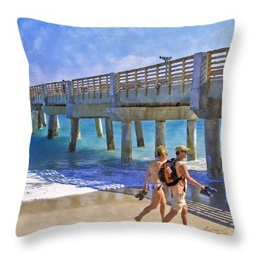 This Side Of Paradise Throw Pillow by Debra and Dave Vanderlaan