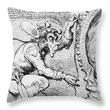 Thomas Paine Caricature Throw Pillow by Photo Researchers