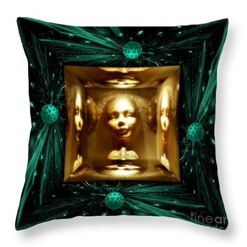 Throw Pillow featuring the digital art Thoughts Mirror Box by Rosa Cobos
