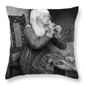 Threading The Needle Throw Pillow by Granger