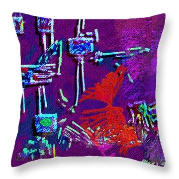 Threads Throw Pillow by Mathilde Vhargon