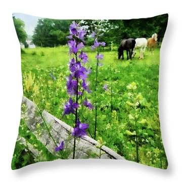 Three Horses In Distance Throw Pillow by Susan Savad
