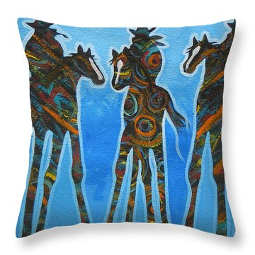 Three In The Blue Throw Pillow by Lance Headlee