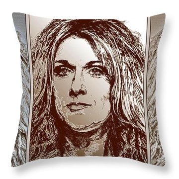 Three Interpretations Of Celine Dion Throw Pillow by J McCombie