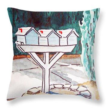 Three Mailboxes Sketchbook Project Down My Street Throw Pillow by Irina Sztukowski