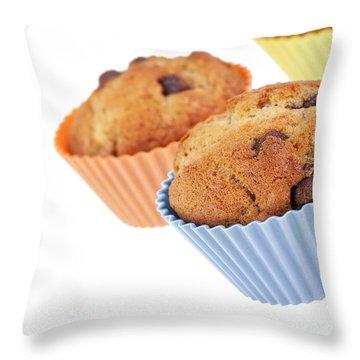 Three Muffins Throw Pillow by Jane Rix