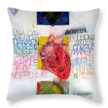 Throw Pillow featuring the painting Three Of Hearts 32-52 by Cliff Spohn