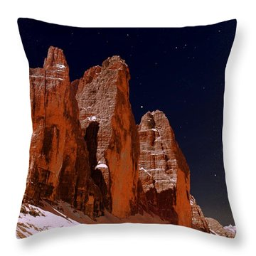 Three Peaks On Mars Throw Pillow by Helmut Rottler