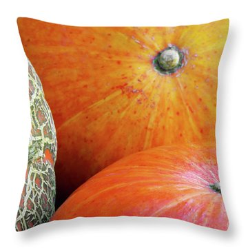 Three Pumpkins Throw Pillow by Carlos Caetano