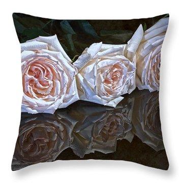 Three Roses Still Life Throw Pillow