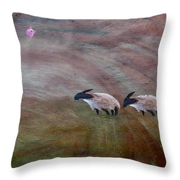 Three Sheep In The Wind And Pigs Fly Throw Pillow