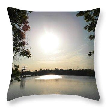 Three Sun Lake Throw Pillow