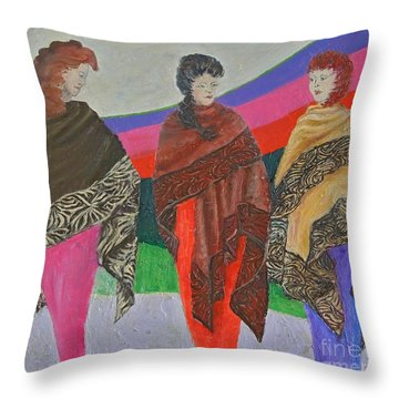 Three Women Throw Pillow by Judith Espinoza