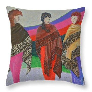 Three Women Throw Pillow