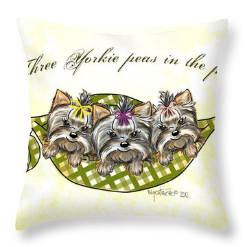 Three Yorkie Peas In The Pod Throw Pillow