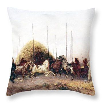 Threshing Wheat In New Mexico Throw Pillow by Thomas Moran