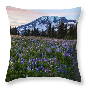 Through The Flowers Throw Pillow by Mike Reid